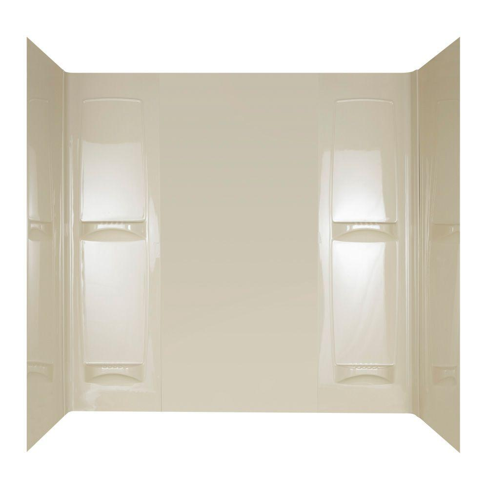 null ProSeries 32 in. x 57 in. x 60 in. Five Piece Easy-Up Adhesive Tub Wall in Bone