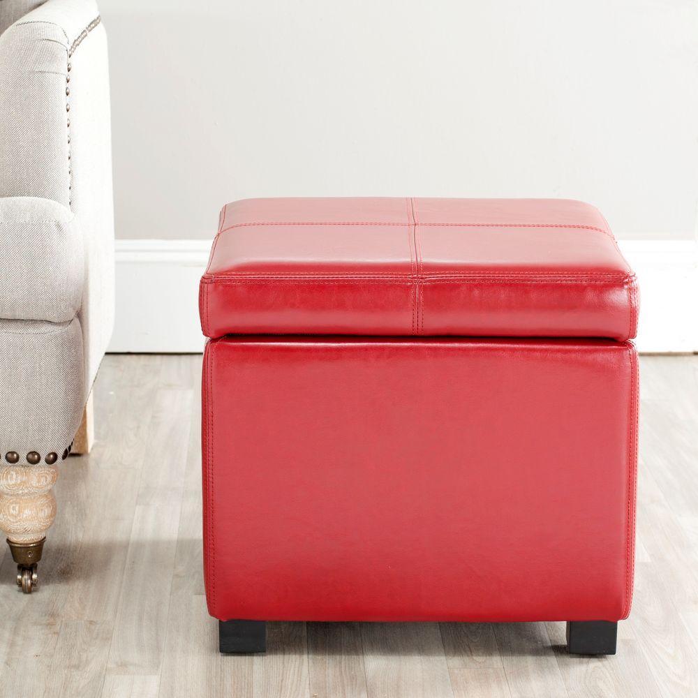 Safavieh Madison Red Storage Ottoman