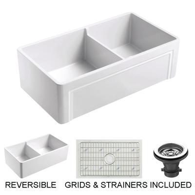 Olde London Farmhouse Fireclay 33 in. 55/45 Double Bowl Kitchen Sink with Grid with Grid and Strainer