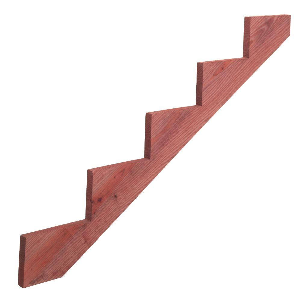 5-Step Redwood-Tone Ground Contact Pressure-Treated Pine Stair Stringer