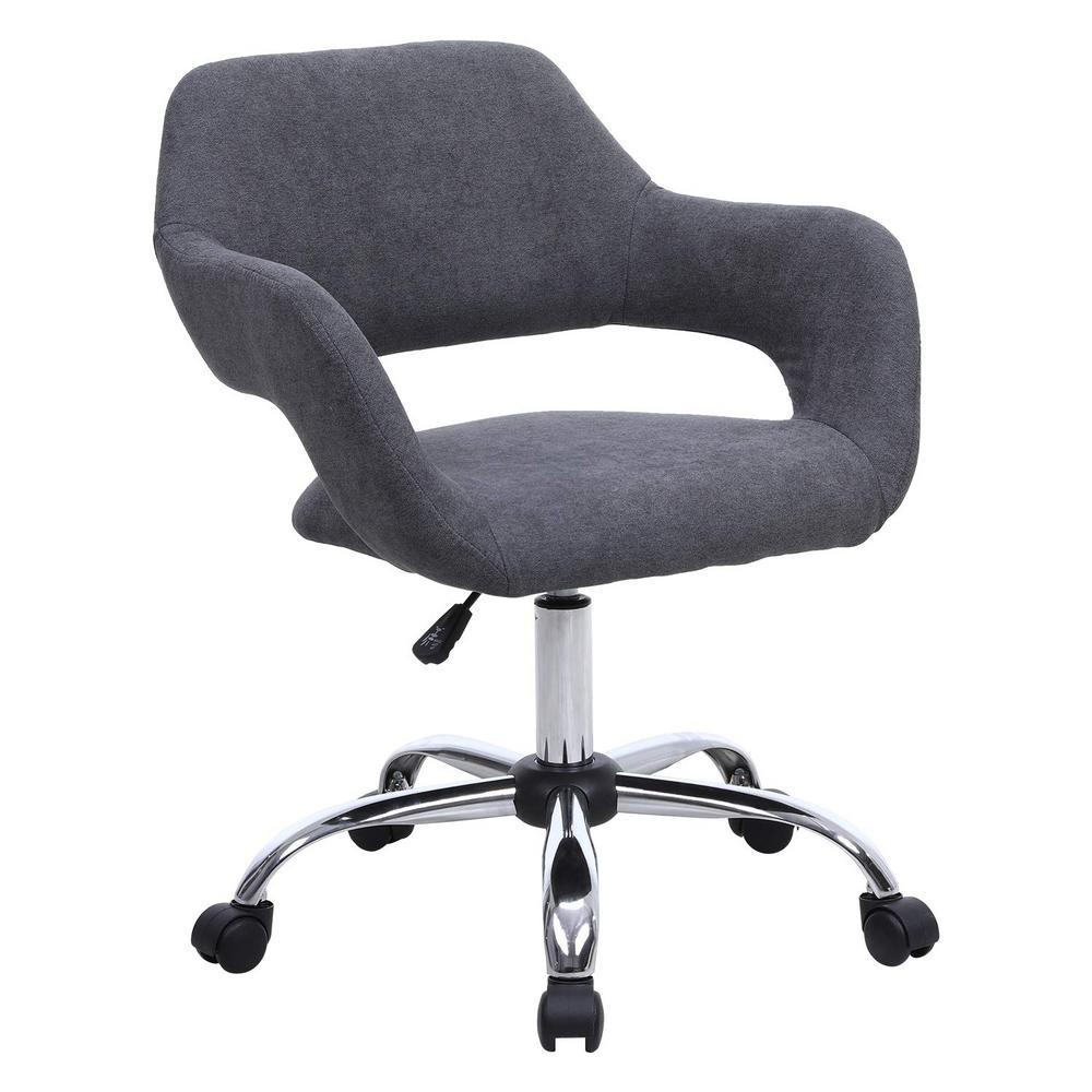 Gray Linen Swivel with Wheels Modern Office Desk Chair Modern Accent Chair