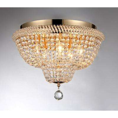 Sammy 16 in. Gold Flush Mount with Crystal Accents