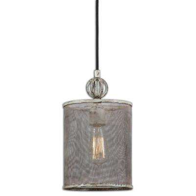 1-Light Distressed Ivory Mini Pendant