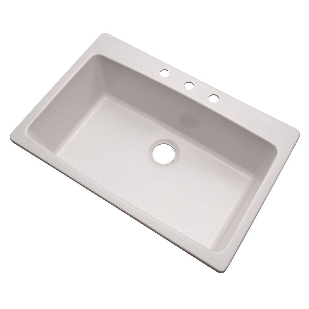 Rockland Dual Mount Granite 33 in. 3-Hole Single Bowl Kitchen Sink
