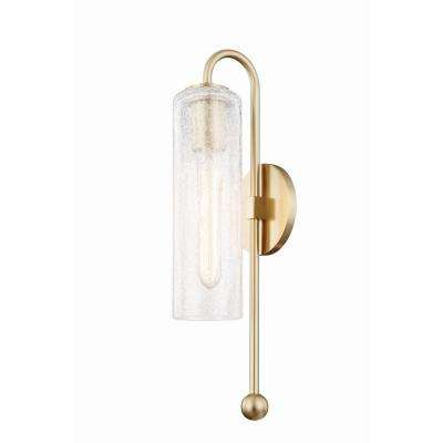 Skye 1-Light Aged Brass Wall Sconce with Clear Crackle Glass Shade