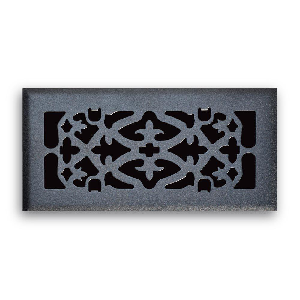 T.A. Industries 04 in. x 10 in. Ornamental Scroll Floor Diffuser Finished in Matte Black