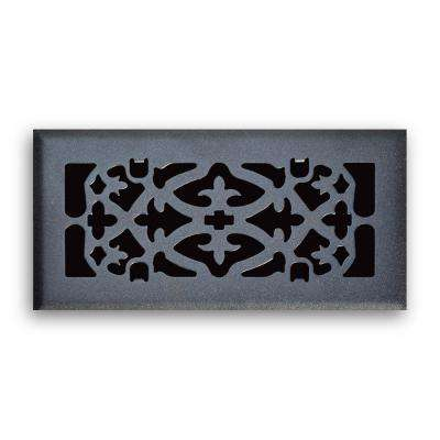 04 in. x 10 in. Ornamental Scroll Floor Diffuser Finished in Matte Black