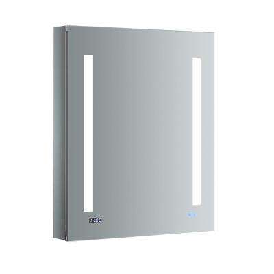 Tiempo 24 in. W x 30 in. H Recessed or Surface Mount Medicine Cabinet with LED Lighting, Mirror Defogger and Left Hinge