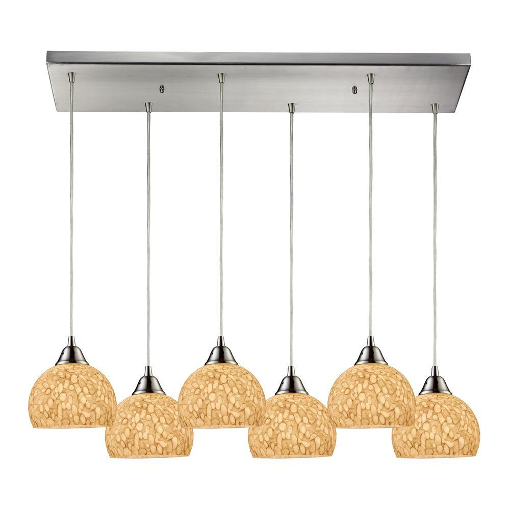 Titan Lighting Cira 6-Light Satin Nickel Ceiling Mount Pendant