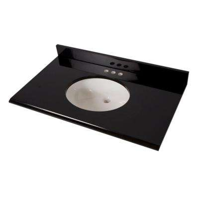 37 in. x 22 in. Colorpoint Vanity Top in Black with White Bowl