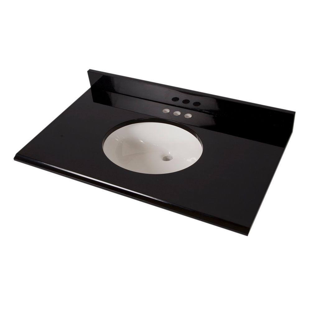 37 in. x 22 in. Colorpoint Vanity Top in Black with