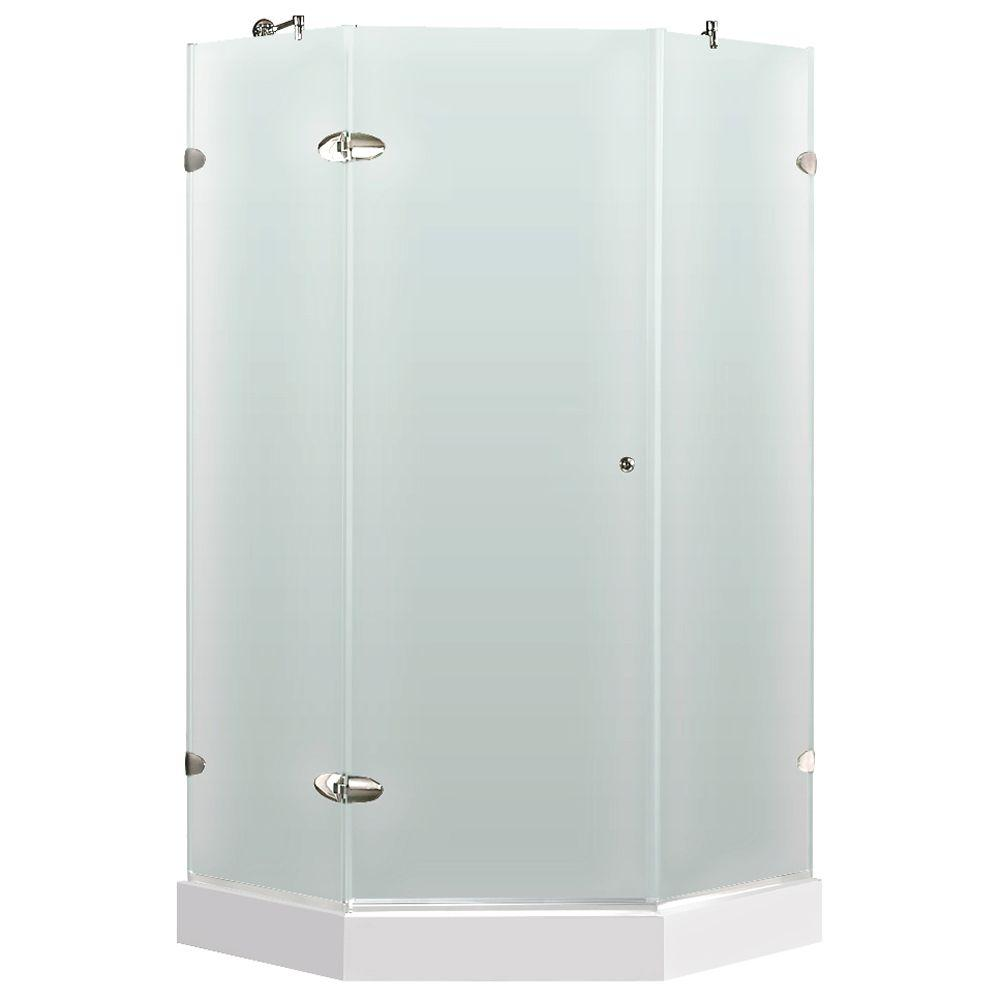 Vigo 40-1/4 in. x 76-3/4 in. Frameless Neo-Angle Shower Door with Low-Profile Base in Frosted/Chrome