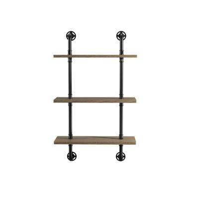 Jaxon 9 in. x 24 in. x 40 in. Sand Black & Light Pure Copper Wood Floating Decorative Wall Shelves