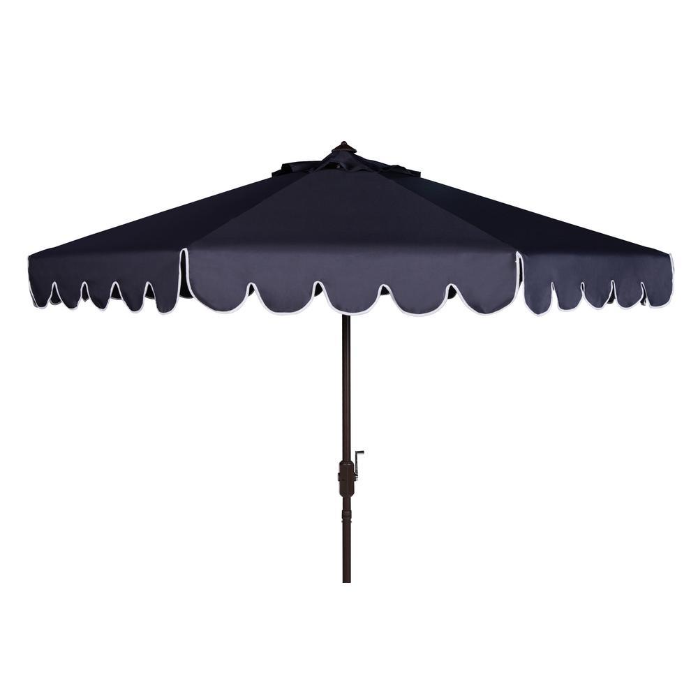 Venice 9 ft. Aluminum Market Tilt Patio Umbrella in Navy/White