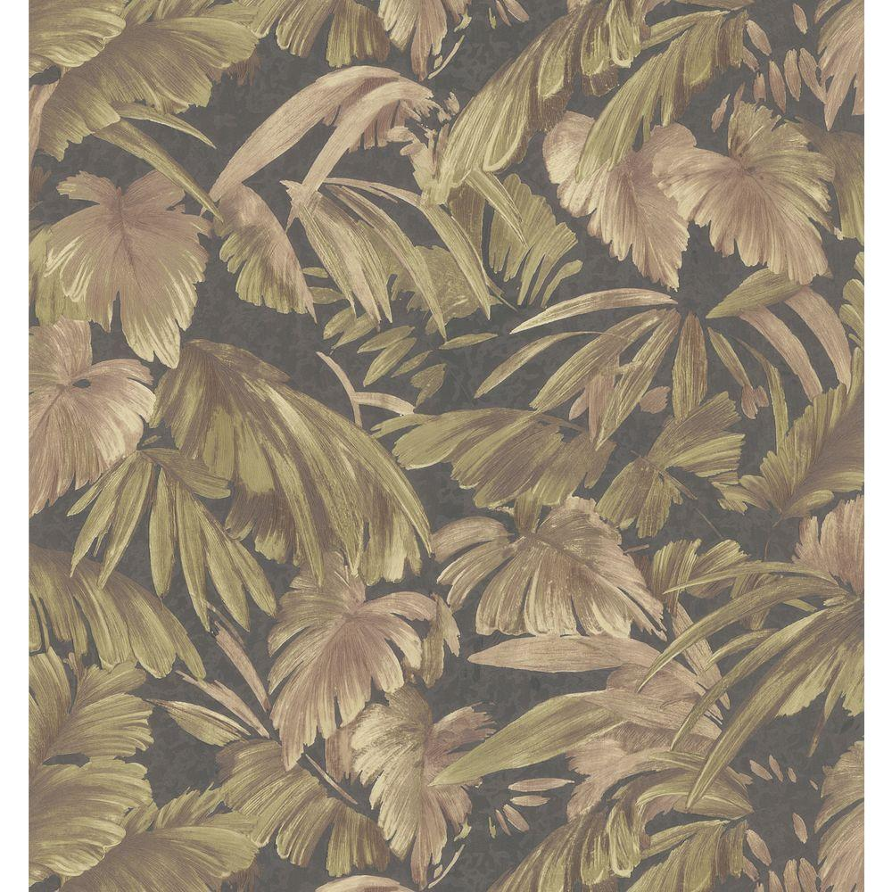 Kitchen and Bath Resource II Black Jungle Leaf Wallpaper Sample