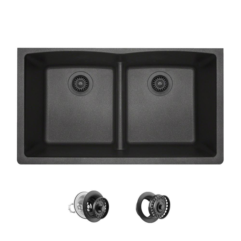 Mr Direct All In One Undermount Kitchen Sink Composite Granite 33 Low