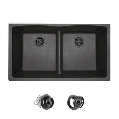 All-in-One Undermount Kitchen Sink Composite Granite 33 in. Low-Divide Equal Double Basin in Black