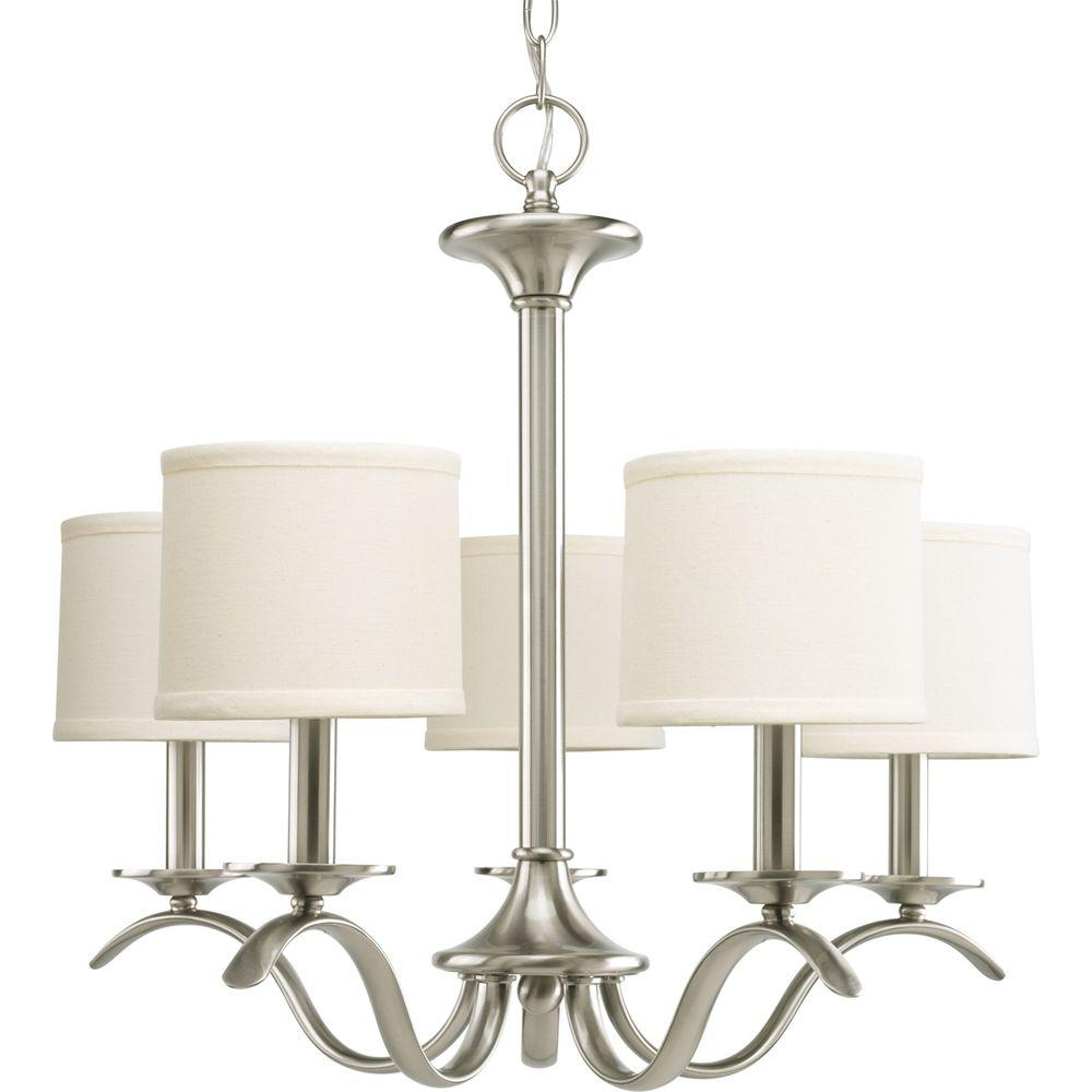 Progress Lighting Inspire Collection 5 Light Brushed Nickel Chandelier With Shade P4635 09 The