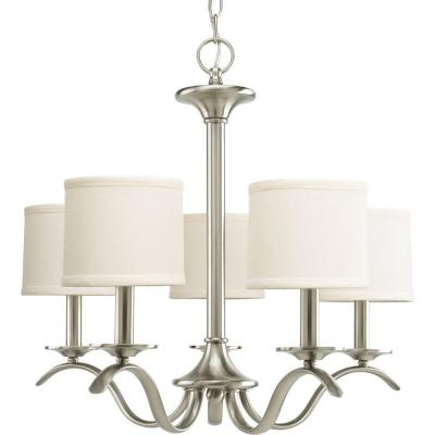 Inspire Collection 5-Light Brushed Nickel Chandelier with Beige Linen Shade