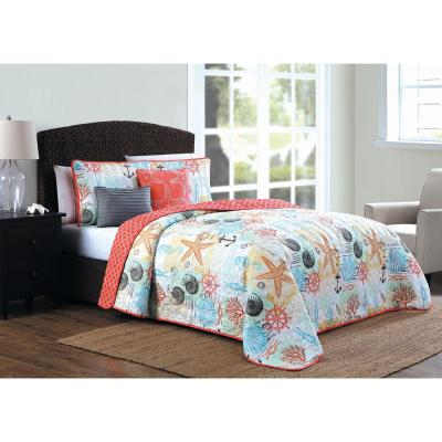 Belize 5-Piece Coral Queen Quilt Set