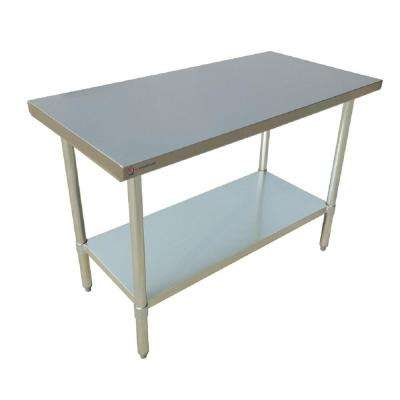 72 in. x 30 in. x 34 in. Stainless Steel Kitchen Utility Table Surface