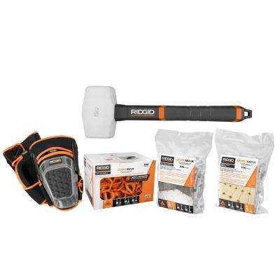 LevelMax Anti-Lippage and Spacing System Tops, Flat Stems, and Brick Stems with Knee Pads, 16 oz. Rubber Mallet