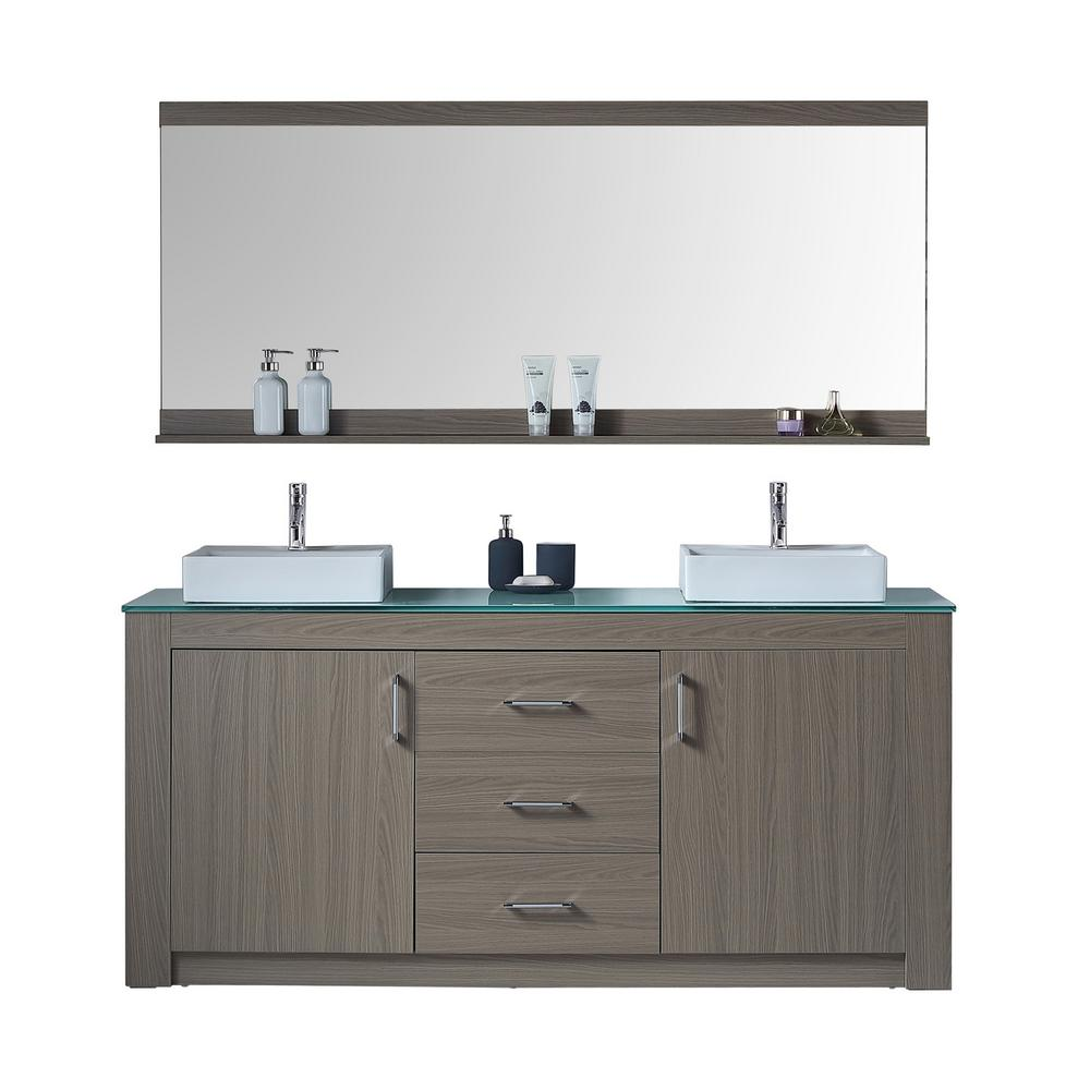 Virtu USA Tavian 72 in. W Double Vanity in Grey Oak with Glass ...
