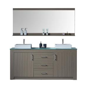 Virtu USA Tavian 72 inch W Double Vanity in Grey Oak with Glass Vanity Top in Aqua with White Basin with Faucet and... by Virtu USA