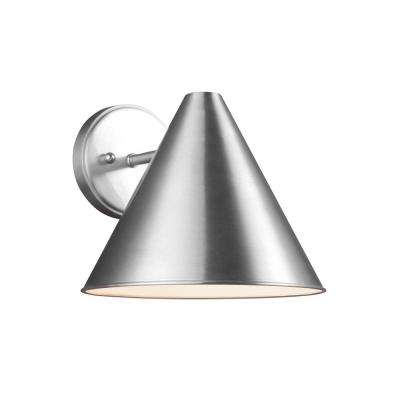 Crittenden 1-Light Satin Aluminum Outdoor 8.5 in. Wall Lantern Sconce with LED Bulb