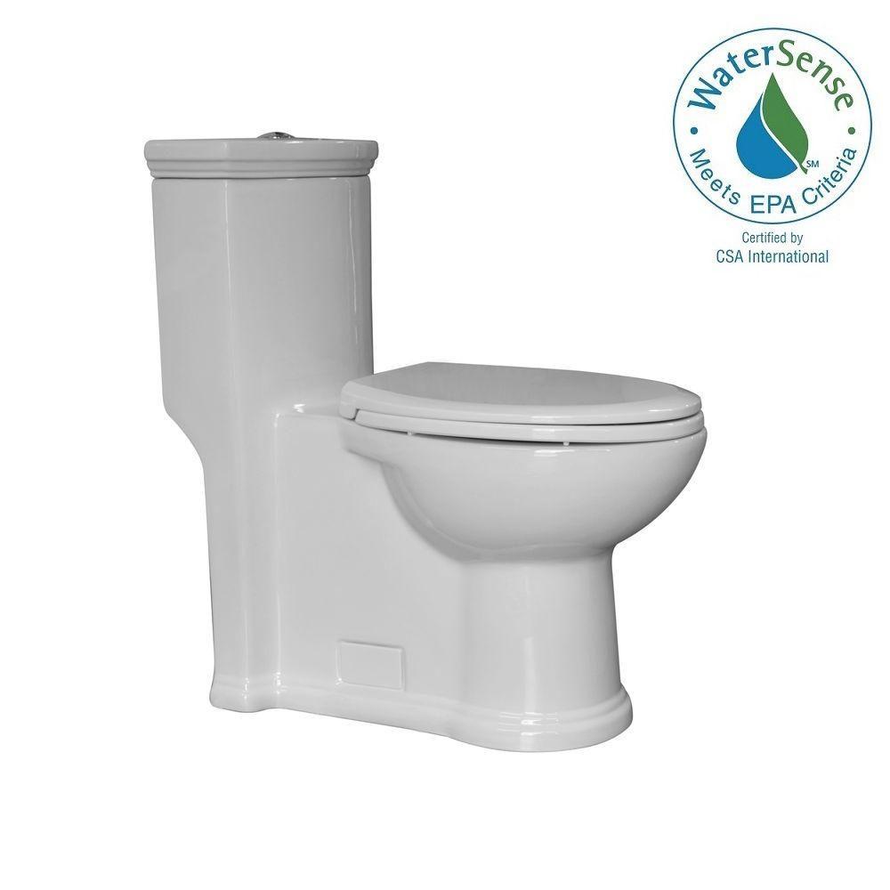 Whitehaus Collection Magic Flush 1 Piece 13 09 GPM Dual Elongated Toilet In White WHMFL3364 EB