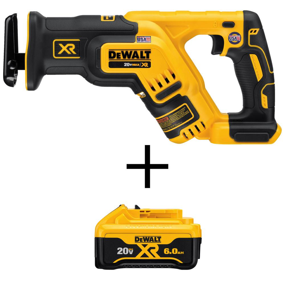 DEWALT 20-Volt MAX XR Lithium-Ion Cordless Brushless Compact Reciprocating Saw (Tool-Only) with Bonus Battery Pack 6.0 Ah