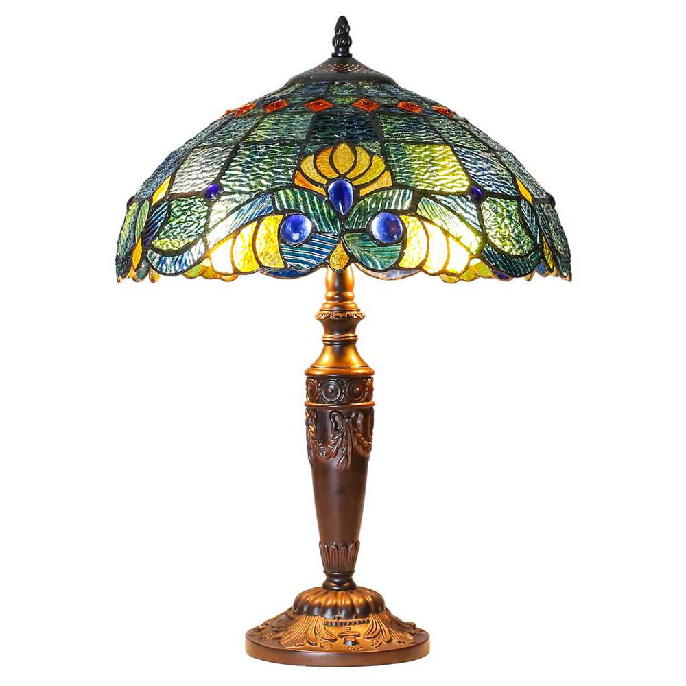 20 in. Blue Indoor Table Lamp with Stained Glass Swirling Shells