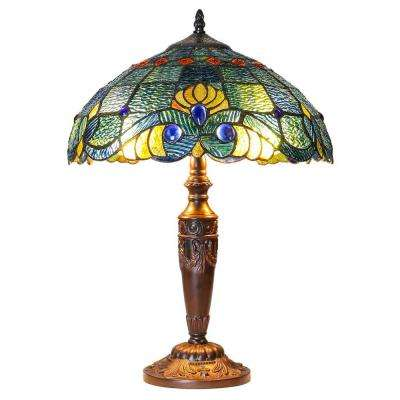 20 in. Blue Indoor Table Lamp with Stained Glass Swirling Shells Shade