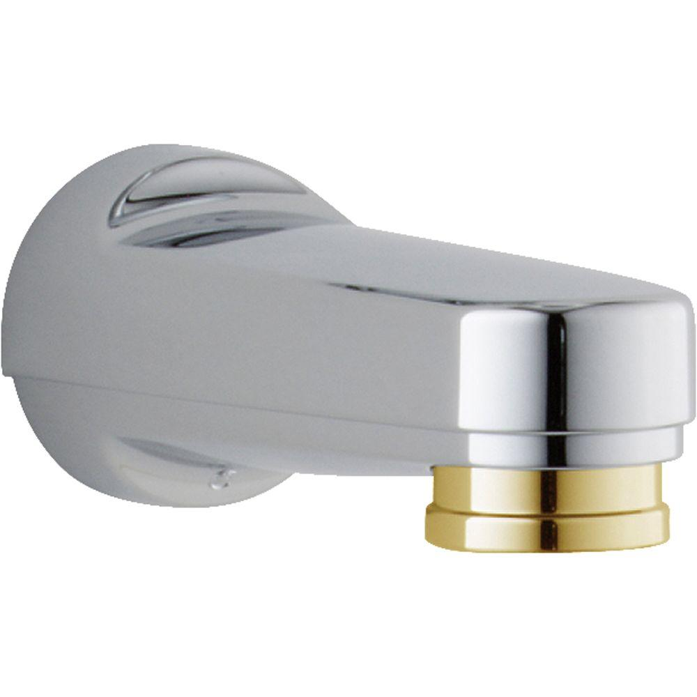 delta pull down diverter tub spout in chrome and polished brass