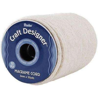 32 Ply 3 mm x 50 yds. Natural Cotton Macrame Cord Spool