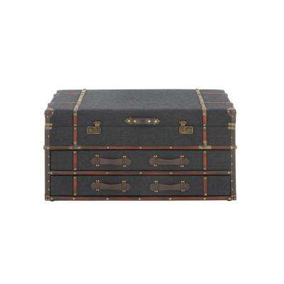 40 in. x 21 in. Dark Blue Fabric Chest Coffee Table with Storage Drawers, Wood and Leather Trim