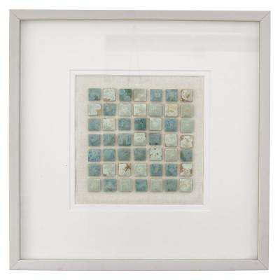 19.75 in. x 1.5 in. Framed Art with Mosaic Look in White