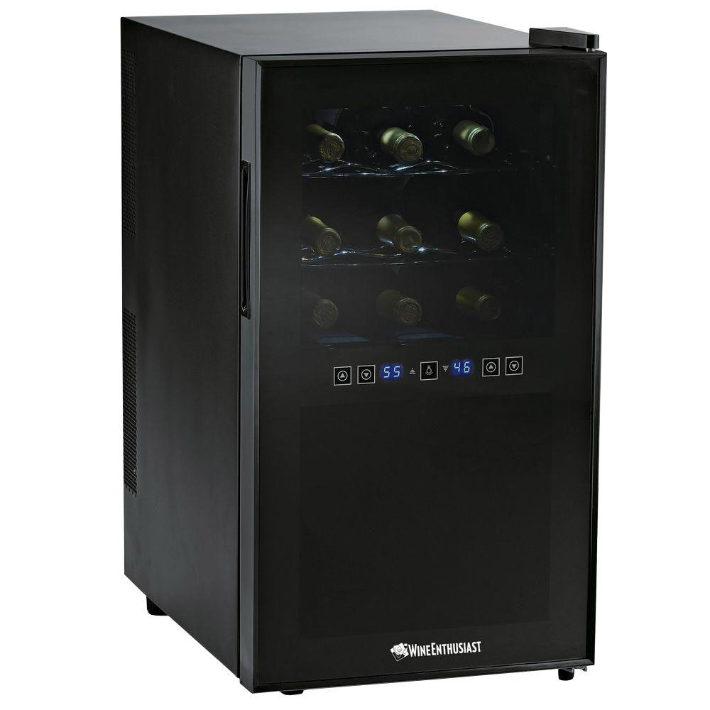 Wine Enthusiast 18-Bottle Dual Zone Silent Touchscreen Wine Cooler, Black