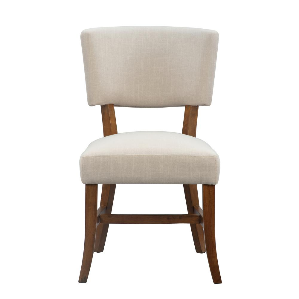 International concepts rayna almond fabric and pecan legs linen upholstered chair c59 7421 the home depot