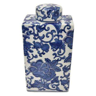 9.75 in. Blue and White Ceramic Jar