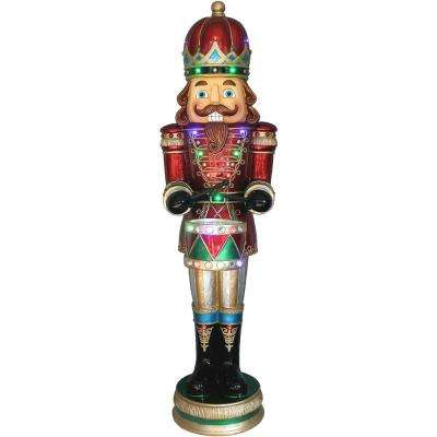 5 ft. Christmas Nutcracker Playing Snare Drum w/Moving Hands, Music, Timer, and 20 LED Lights