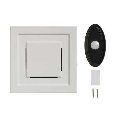 White Wireless Plug-In Door Chime Receiver with Black Wireless Door Bell Push Button
