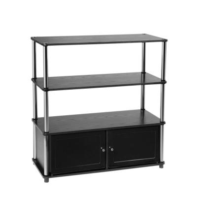 Designs2Go 35 in. Black Particle Board TV Stand 37 in. with Doors