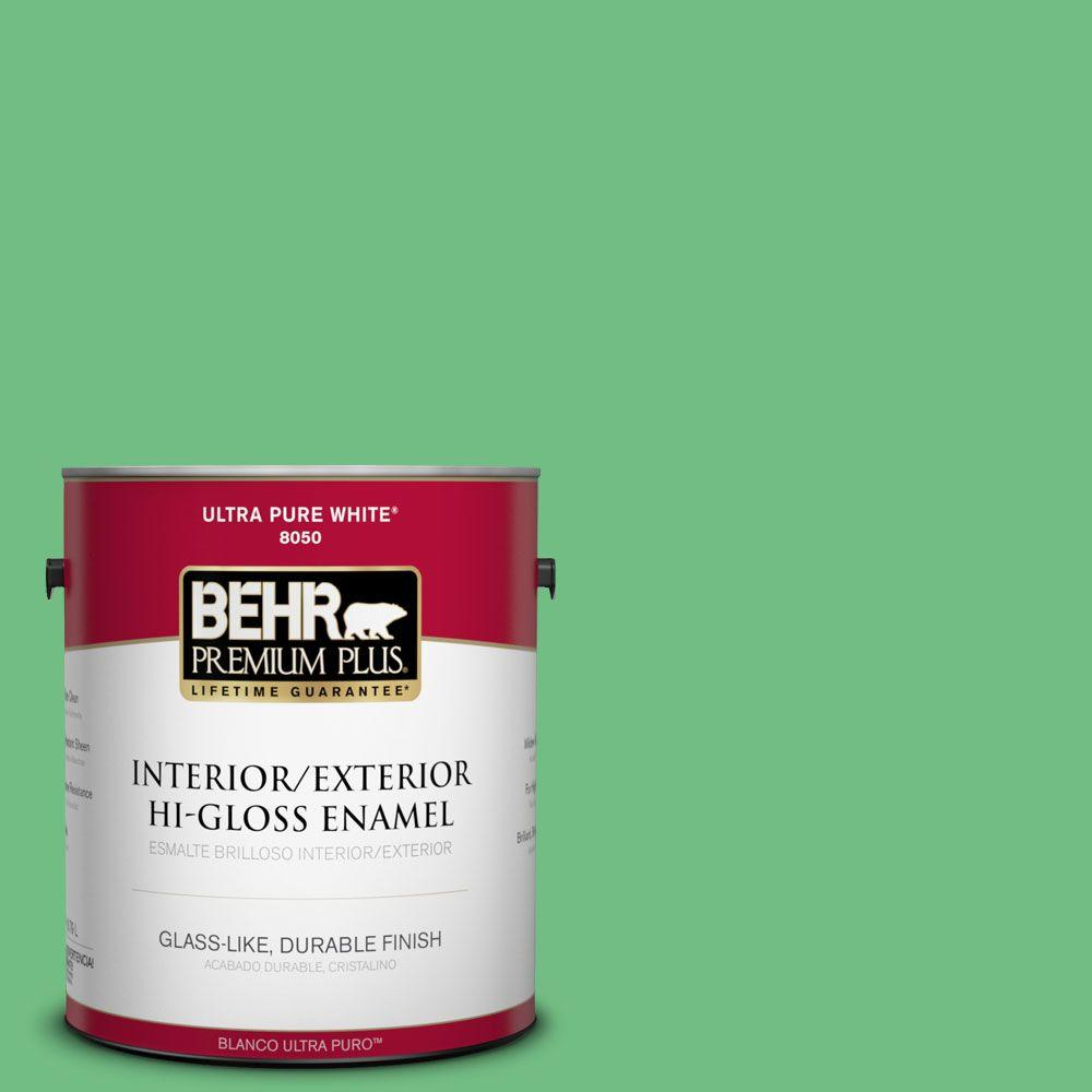BEHR Premium Plus 1-gal. #P400-5 Winter Shamrock Hi-Gloss Enamel Interior/Exterior Paint