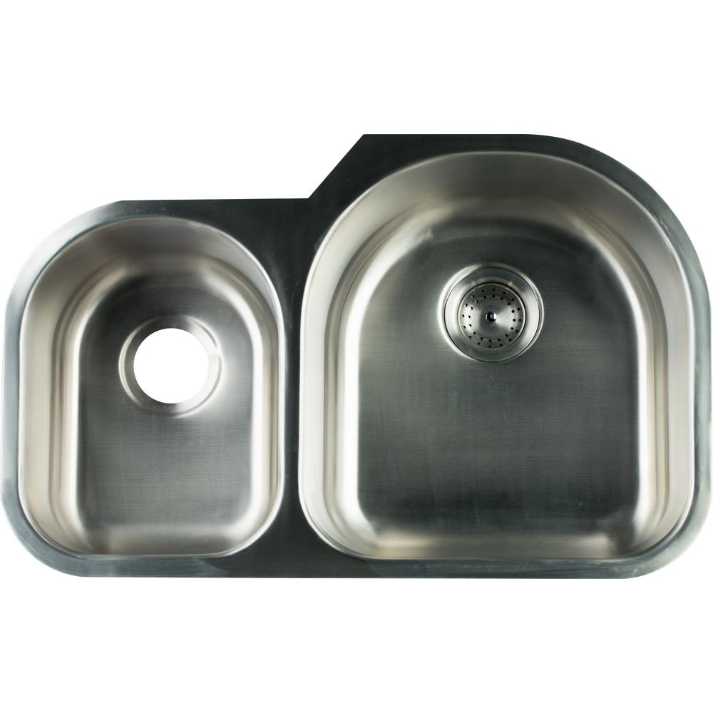 Glacier Bay Undermount Stainless Steel 31 In 0 Hole Double Bowl