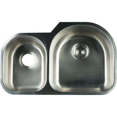 Undermount Stainless Steel 31 in. 0-Hole Double Bowl Kitchen Sink