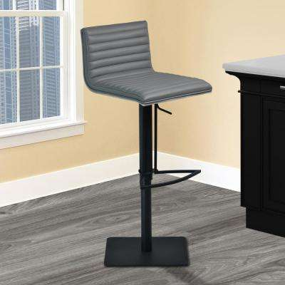 Cafe 31-41 in. Gray Faux Leather with Black Metal Finish and Gray Walnut Veneer Back Adjustable Swivel Barstool