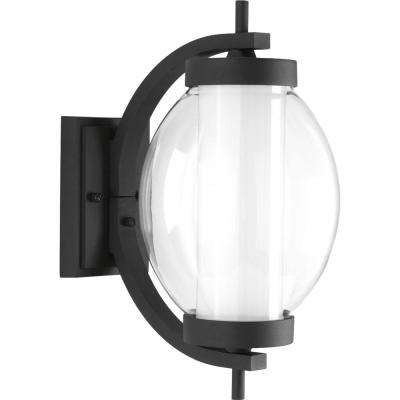 Ellipsis Collection 9-Watt 15.5 in. Outdoor Black Integrated LED Wall Lantern Sconce
