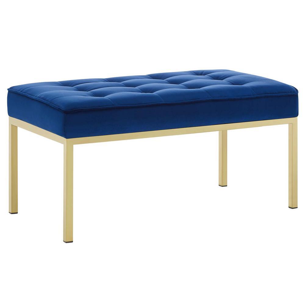 Stupendous Loft Gold Navy Stainless Steel Leg Medium Performance Velvet Bench Ibusinesslaw Wood Chair Design Ideas Ibusinesslaworg
