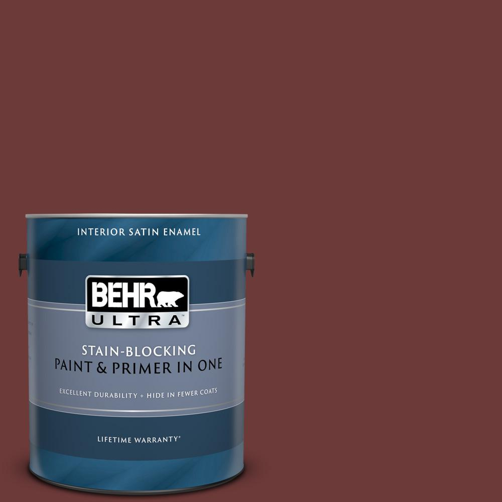 Behr Ultra 1 Gal Icc 82 Library Red Satin Enamel Interior Paint And Primer In One 775301 The Home Depot